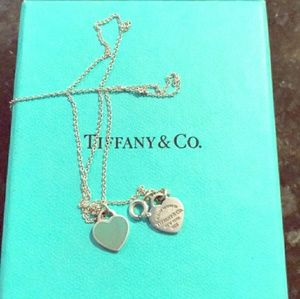 Tiffany mini double heart in silver and blue